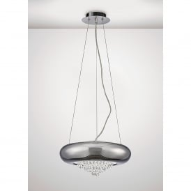 Phyllis 3 Light Large Ceiling Pendant In Polished Chrome And Crystal Finish