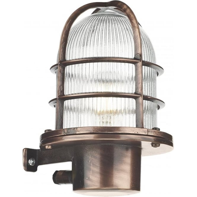 David Hunt Lighting Pier Single Light Solid Brass Wall Fitting in Antique Copper Finish with Glass Diffuser (Outdoor)