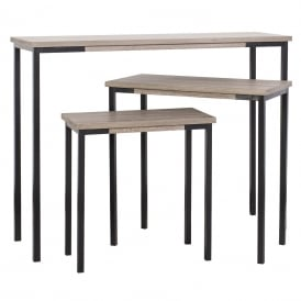 Pittsburgh Set Of 3 Console Side Tables in Large Medium And Small In Oak Veneer Finish