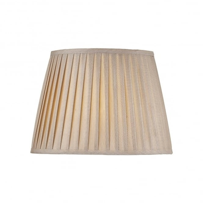 Dar Lighting Pleated Taupe Coloured Faux Silk Shade