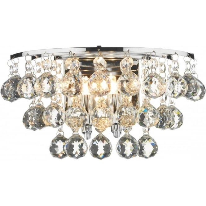 Dar Lighting Pluto 2 Light Switched Polished Chrome Wall Fitting with Crystal Detail