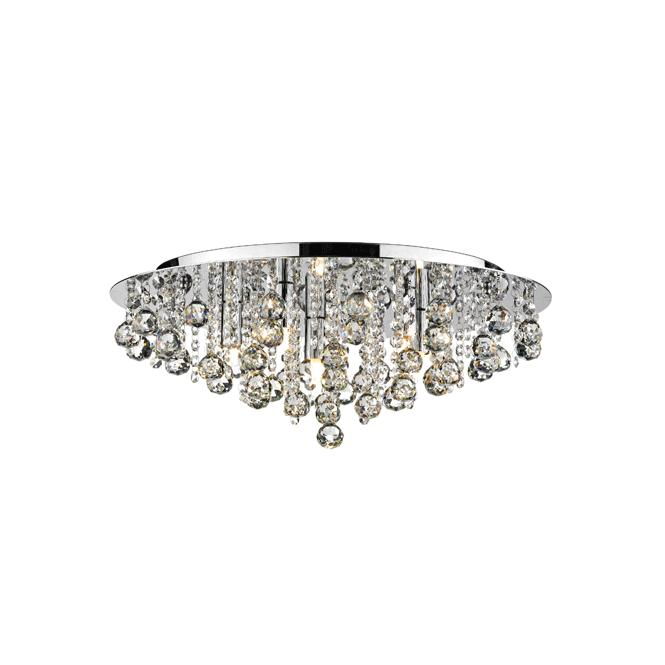 Dar Lighting Pluto Medium 5 Light Polished Chrome Ceiling Fitting with Crystal Detail