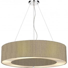 Polo 4 Light Ceiling Pendant with 100% Silk Taupe Shade
