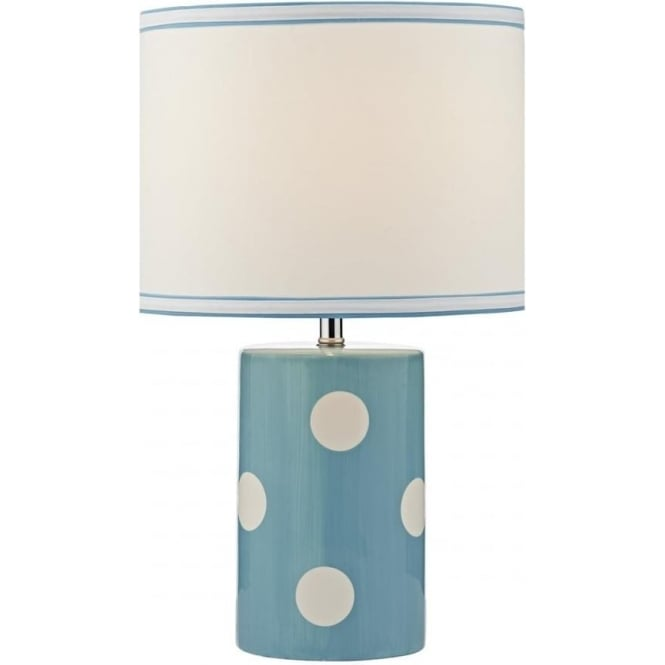 Dar Lighting Pompom Single Light Table Lamp in Blue and White Ceramic Finish with White Linen Shade