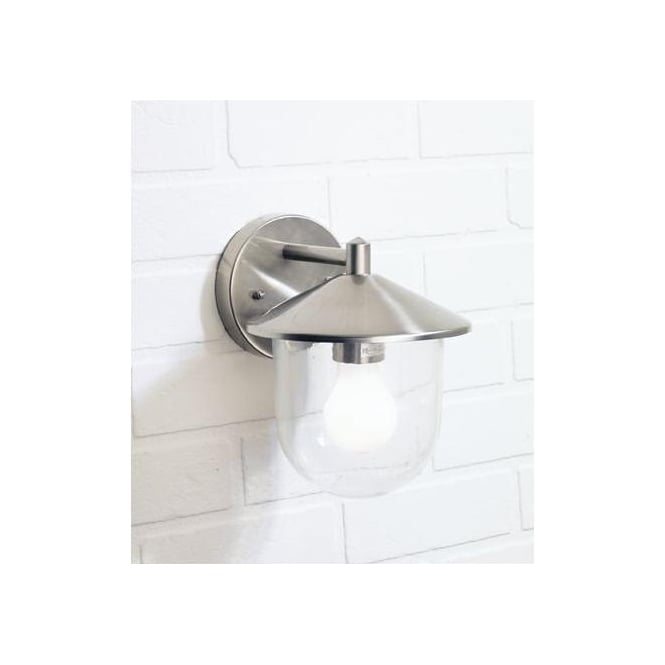 Dar Lighting Poole Stainless Steel Wall Light With Clear Glass Diffuser
