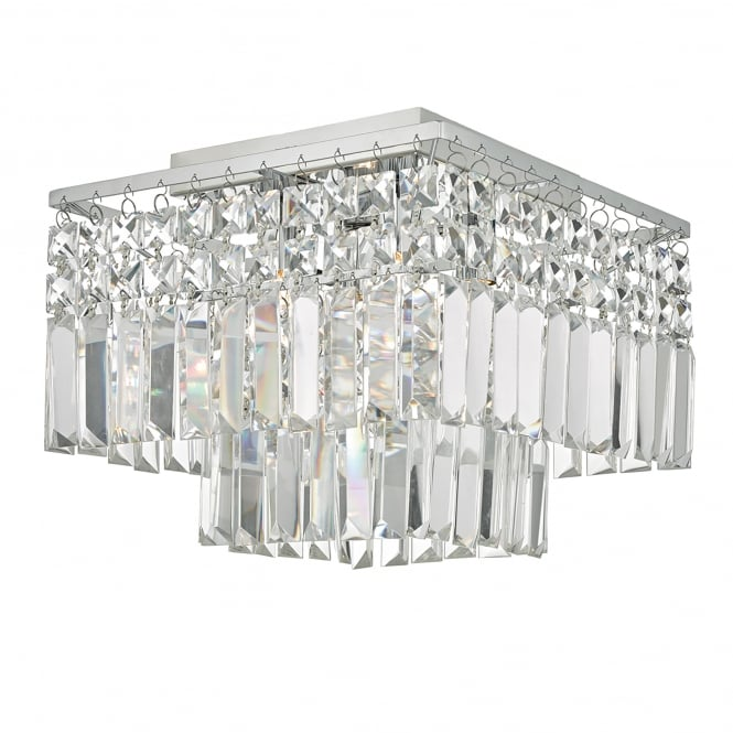 Dar Lighting Poseidon 4 Light Flush Ceiling Light in Polished chrome Finish with Crystal Droppers