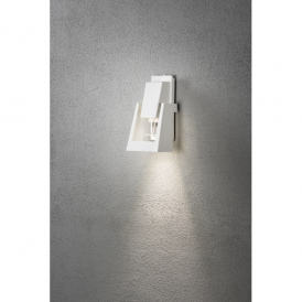 Potenza Single Light LED Outdoor Wall Light in Painted White Aluminium Finish