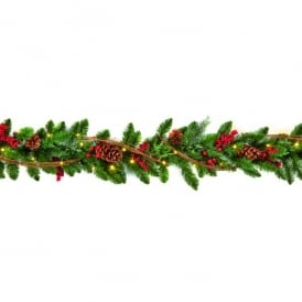 1.8m Pre-Lit Battery Operated Natural Garland with 30 Warm White LED's and Timer Function