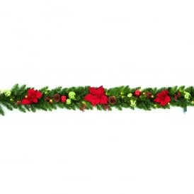 1.8m Pre-Lit Battery Operated Poinsettia Garland with Warm White LED's