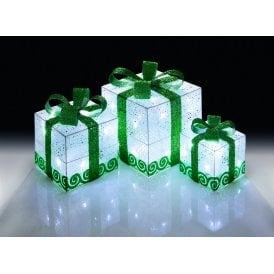 3 White Parcels With Green Bow Detail And 40 White LED's