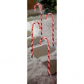 4 Piece Red Candy Cane Path Lights with LED's