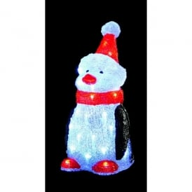 40 White LED Acrylic Penguin with Red Hat