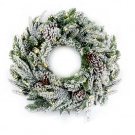 60cm Flocked Wreath with 50 Warm White LED's