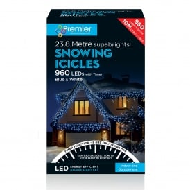 960 Blue & White LED Snowing Icicle Lights