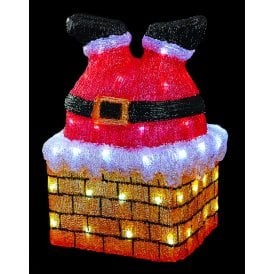 Acrylic Santa Stuck in Chimney with White LED