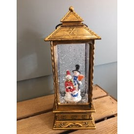 Battery Operated Glitter Water Lantern with Snowman Family Scene