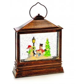 Battery Operated Glitter Water Lantern with Snowmen Family Scene