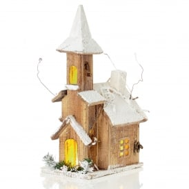 Battery Operated Nordic Wooden Church with Warm White LED's