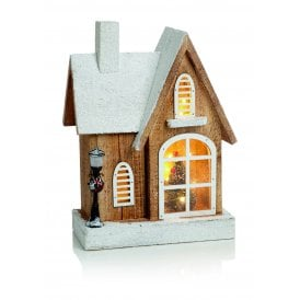 Battery Operated Nordic Wooden House with Warm White LED's
