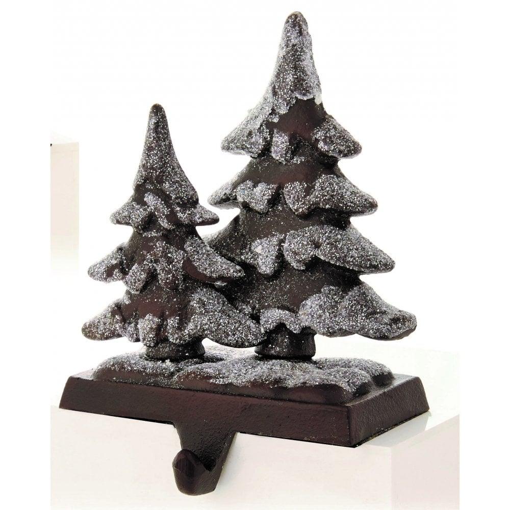 Christmas Tree Stocking Holder.Premier Decorations Brown Rustic Christmas Trees Stocking Holder
