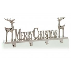 Merry Christmas Sign with Reindeer Stocking Holder