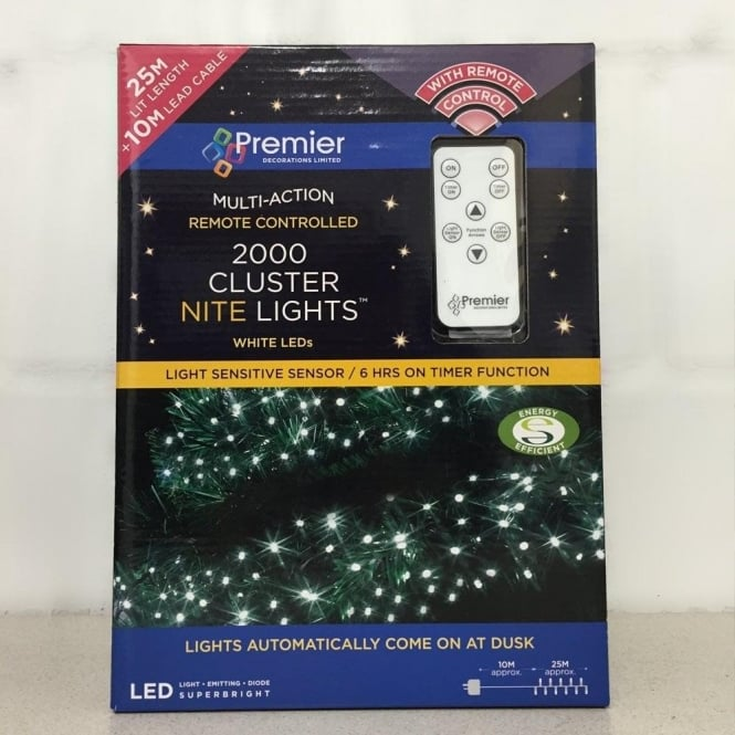Premier Decorations Set Of 2000 LED White Cluster Nite Lights With Remote Control And Light Sensor