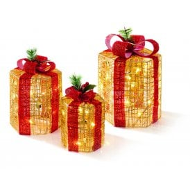 Set of 3 Hexagonal Gold Festive Parcels with Warm White LED.
