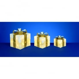 Set of 3 Illuminated Snow Topped Cream Parcels With Gold Bow