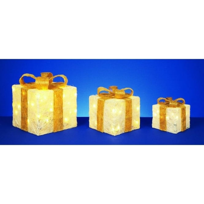 Premier Decorations Set Of 3 LED Cream Parcels With Gold Bow Detail