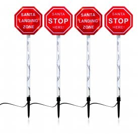 Set of 4 Santa Stop Here Sign Lights with 60 White LED's