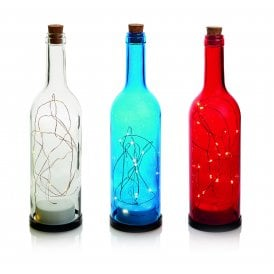 Set of Three Glass Bottles in Red, Blue and Clear with 15 Warm White LED's
