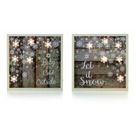 Set of Two Baby and Snowflake Battery Operated Light Up Frames