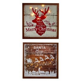 Set of Two Reindeer and Santa Battery Operated Light Up Plaques