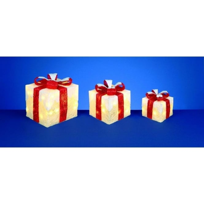 Premier Decorations Set of White Snow Topped Parcels With Red Bow Detail And Warm White LED's
