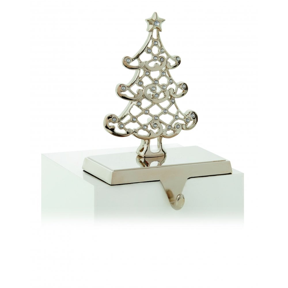 Christmas Tree Stocking Holder.Premier Decorations Premier Decorations Tree Stocking Holder In Silver With Crystal Decoration