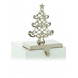 Premier Decorations Tree Stocking Holder in Silver with Crystal Decoration