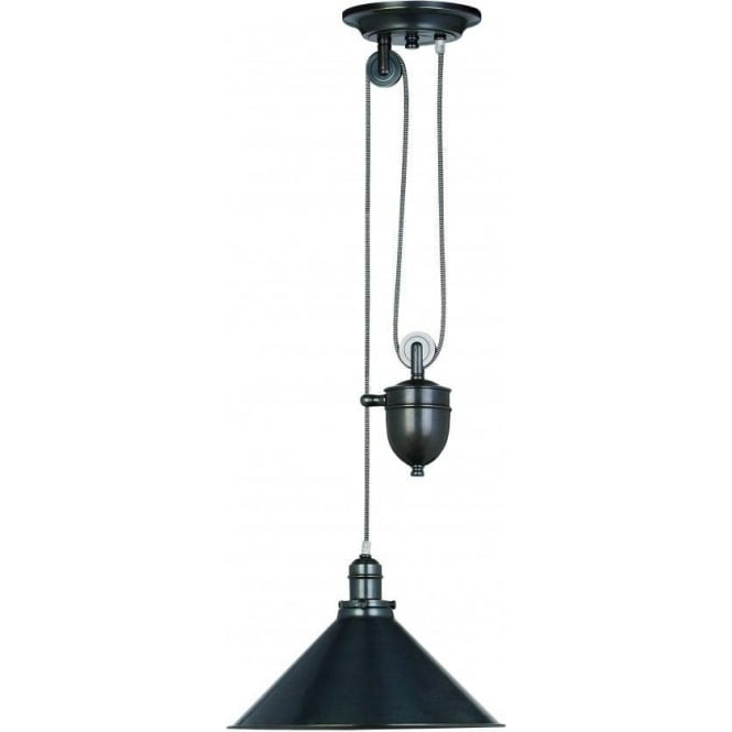 Elstead Lighting Provence Single Light Rise And Fall Pendant With Old Bronze