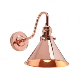 Provence Single Light Wall Fitting in Polished Copper Finish