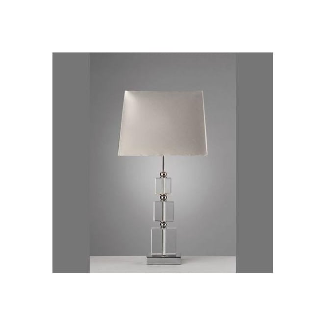 Dar Lighting Pullman Single Light Table Lamp In Polished Chrome And Crystal Finish With Silver Shade