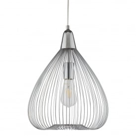 Pumpkin Single Light Ceiling Pendant In Polished Chrome Finish