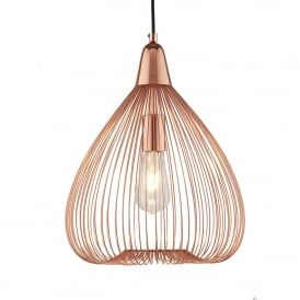 Pumpkin Single Light Ceiling Pendant In Shiny Copper Finish