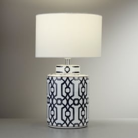 Puzzle Single Light Table Lamp With Ceramic Dark Blue And White Base And White Fabric Shade