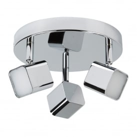 Quad 3 Light LED Square Head Spot Light Fitting In Polished Chrome Finish