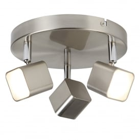 Quad 3 Light LED Square Head Spot Light Fitting In Satin Silver Finish