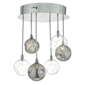Quinn 6 Light Low Voltage Halogen Semi Flush Ceiling Fitting In Polished Chrome Finish with Glass