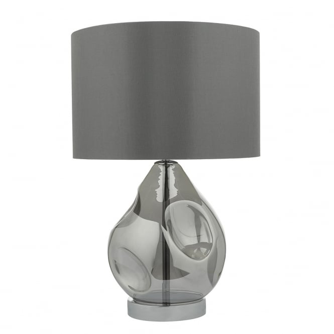 Dar Lighting Quinn Single Light Table Lamp With Smoked Glass Base And Grey Shade