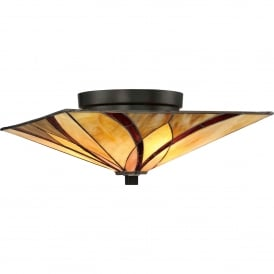 Quoizel Asheville 2 Light Flush Ceiling Fitting In Valiant Bronze Finish And Tiffany Glass Shade