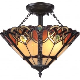 Quoizel Cambridge 2 Light Semi Flush Ceiling Fitting In Vintage Bronze Finish With Tiffany Glass Shade