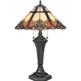 Quoizel Cambridge 2 Light Table Lamp In Vintage Bronze Finish With Tiffany Glass Shade