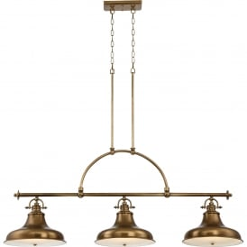 Quoizel Emery 3 Light Ceiling Bar Pendant in Weathered Brass Finish